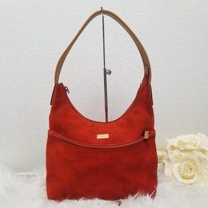 Gucci Orange Suede Leather Trim Shoulder Bag